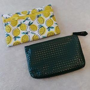2 Ipsy Cosmetic Bags - Lemon Print and Dark Green